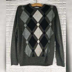 {geoffrey beene} Mens Grey & Black Argyle Sweater
